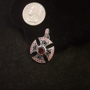 Sterling Silver Genuine Garnet and Ruby Cross Pendant