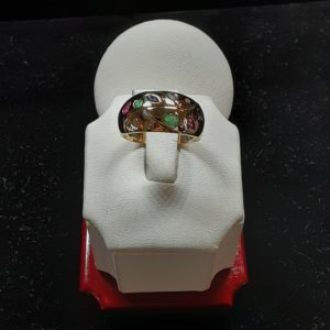 14k yellow gold Emerald, Ruby, Sapphire, Diamond Ring