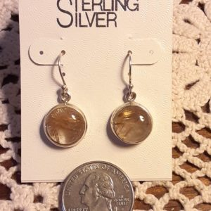 Sterling Silver Rutilated Quartz Earrings – Gold Colored Rutiles