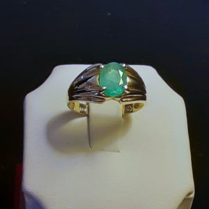 10k yellow gold Natural Brazilian Emerald Ring