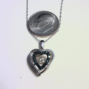 10k white gold Floating Diamond and Blue Diamond Heart Necklace
