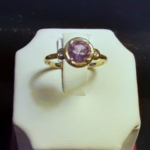 14k yellow gold Amethyst and Diamond Ladies Ring