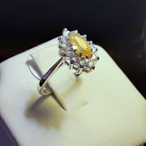 14k white gold Citrine Ladies Ring
