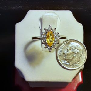 14k white gold Citrine Ladies Ring