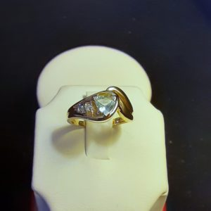14k yellow gold Aquamarine Ring – Trillion Cut