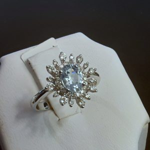 14k white gold Aquamarine and Diamond ladies ring