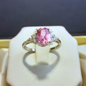 Sterling Silver Created Pink Sapphire and Diamond Ring Size 7