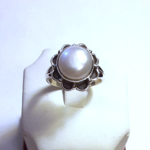 Sterling Silver Genuine Pearl Ring Size 8