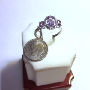 Sterling Silver Amethyst and Diamond Ring Size 7