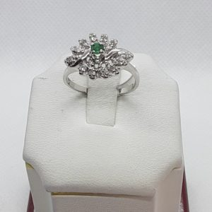 14k Estate white gold Genuine Emerald and Diamond Ring Size 7