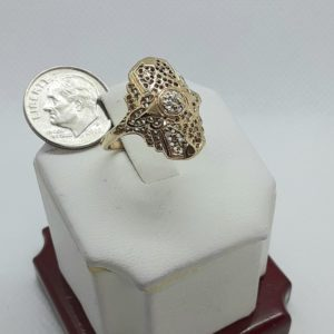 10k Vintage yellow gold Art Deco Diamond Ring Size 6-1/2