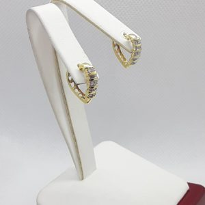 10k yellow gold Diamond Huggie Heart Earrings