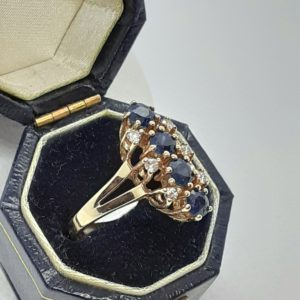 10k Vintage yellow gold Sapphire and Diamond Ring Size 5