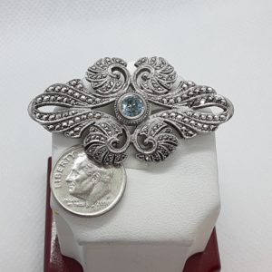 Sterling Silver Vintage Swiss Blue Topaz and Marcasite Brooch