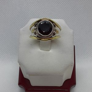Sterling Silver Faceted Black Onyx Ring Size 9
