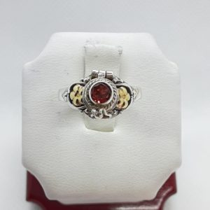 Sterling Silver Garnet Poison Ring Size 7