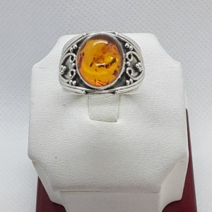 Sterling Silver Amber Ring Size 8