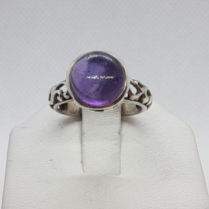 Sterling Silver Round Amethyst Cabochon Ring Size 7
