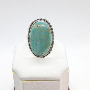 Sterling Silver Oval Turquoise Ring Size 9