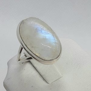 Sterling Silver Oval Rainbow Moonstone Ring Size 9