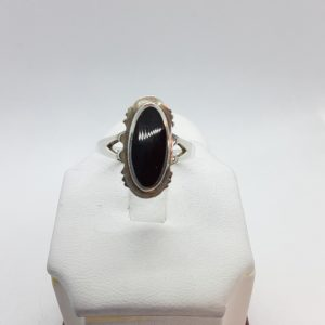 Sterling Silver Black Onyx Ladies Ring Size 9