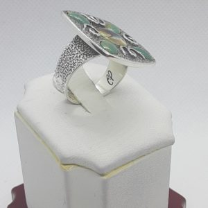 Sterling Silver Vintage Turquoise and Abalone Ring Size 9