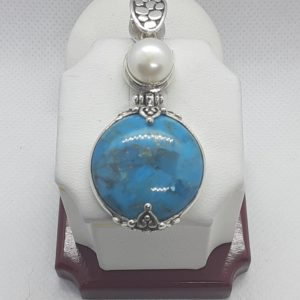 Sterling Silver Turquoise and Pearl Pendant