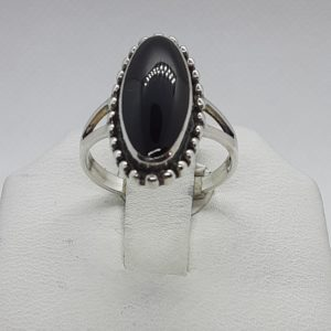 Sterling Silver Oval Onyx Ring Size 5-1/2