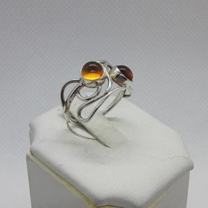 Sterling Silver Amber Ring Size 7