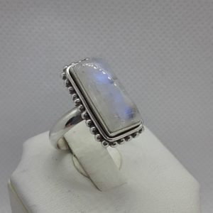Sterling Silver Rainbow Moonstone Ring Size 9