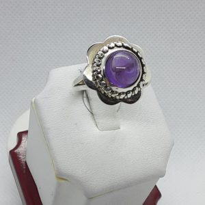 Sterling Silver Amethyst Flower Ring Size 8