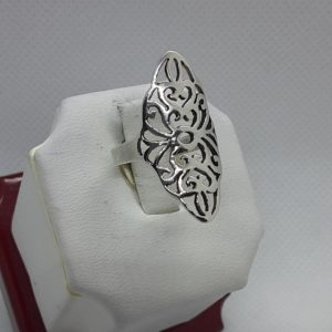 Sterling Silver Oval Shaped Filigree Ring Size 5-1/2