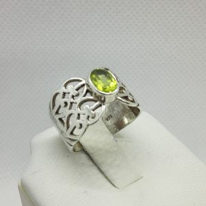 Sterling Silver Peridot Ring Size 7