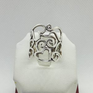 Sterling Silver Heart Ring Size 7-1/2