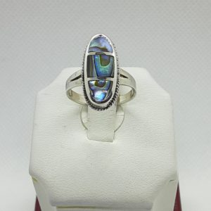 Sterling Silver Oval Abalone Ring Size 7