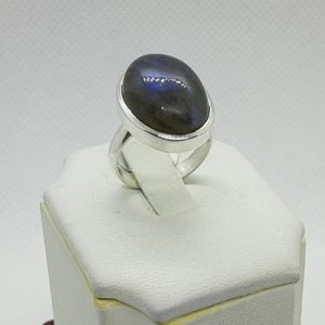 Sterling Silver Oval Labradorite Ring Size 6