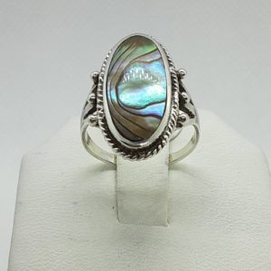 Sterling Silver Abalone Ring Size 6