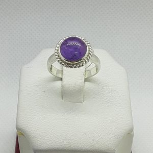 Sterling Silver Amethyst Cabochon Ring Size 6