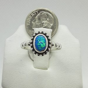 Sterling Silver Blue Opal Ring Size 5-1/2