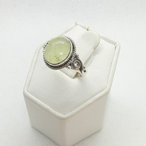 Sterling Silver Prehnite Ring Size 7