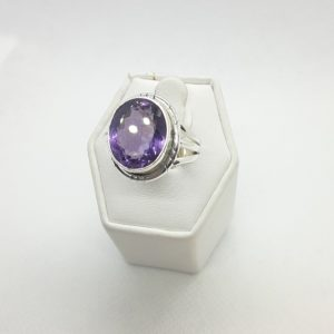 Sterling Silver Amethyst Ring Size 9-1/2