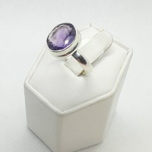 Sterling Silver Amethyst Ring Size 7-1/2