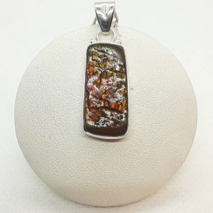 Sterling Silver Fossilized Ammonite Ammolite Pendant