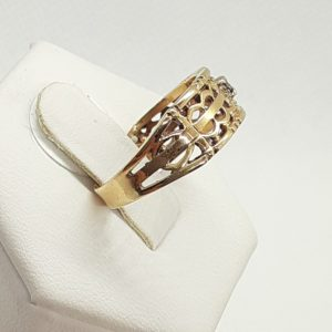 10k Diamond Filigree Band Ring Size 7-1/2