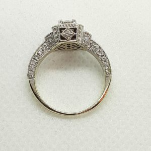 14k White Gold Halo Design 1 ctw Diamond Engagement Ring Size 5-1/2