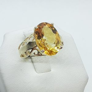 10k Vintage Yellow Gold Citrine Ring Size 7-1/2