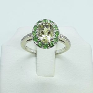 14k White Gold Emerald, Prasialite, and Diamond Ring Size 6