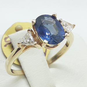 14k Yellow Gold Sapphire and Diamond Ring Size 8-1/2