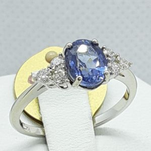 14k White Gold Ceylon Blue Sapphire and Diamond Ring Size 7
