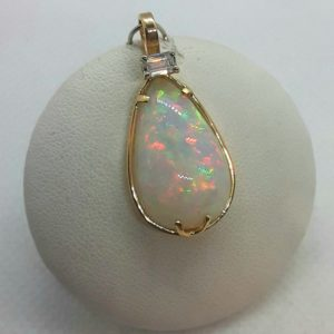 14k Yellow Gold Ethiopian Opal and Diamond Pendant